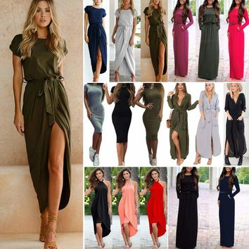 Women Summer Holiday Long Maxi Dress Ladies Evening Party Casual Sundress Solid