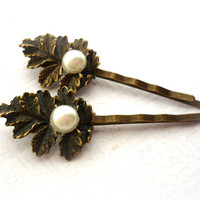 Oak Leaf & Ivory Pearl Hair Clips Leaves, Twigs Forest Fairy Bridal Bobby Pin, Woodland Boho Nature Inspired Weddings,
