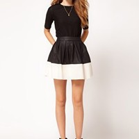 ASOS Skater Skirt in Leather Look at asos.com