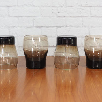 Vintage Libbey Tawney Accent Smoked Glass Rocks Glasses / Set of Four / Mid Century Modern Barware