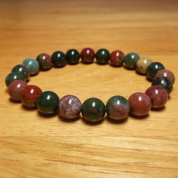 Bloodstone Bracelet - Heliotrope Bracelet, Bloodstone Jewelry, Blood Stone Bracelet, Natural Gemstone Bracelet, Blood Jasper