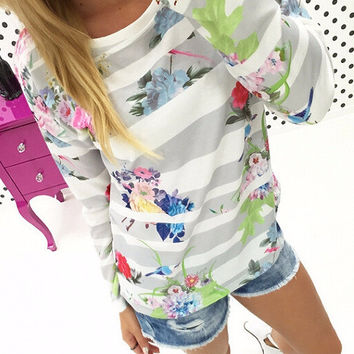 Grey and White Floral Print Striped Sweatshirt