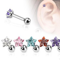 Star CZ Pronged Tragus / Cartilage Earring