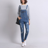 Women Casual Vintage Washed Ripped Denim Suspender Trousers High Waist Ladies Autumn Winter Long Pants Female Blue Hole Jeans
