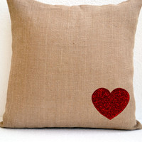 Burlap Heart Cozy Pillow Cover With Red Sequins Best Gift For a Loved One Holiday Decor Valentine