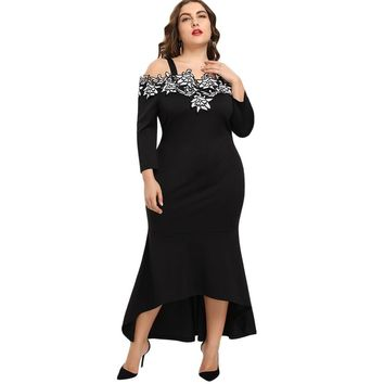 Embroidery Bodycon Mermaid Elegant Trumpet Plus Size Dress