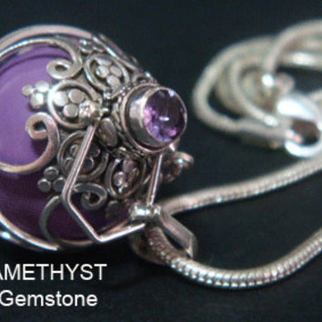 Harmony Ball with AMETHYST Gemstone: GORGEOUS 925 Sterling Silver Harmony Ball with PURPLE Chime Ball | Bola Necklace, Angel Caller 383