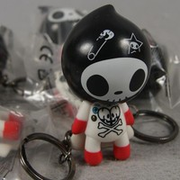 1pcs Mini tokidoki Adios rock skeleton Key Chain.7cm.Rubber Flavour Bulk rocking elf doll.Funny Educational toy