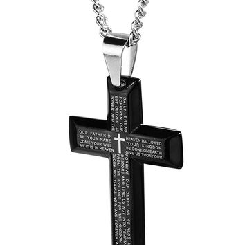 Style Jewelry Men's Stainless Steel Simple Black Cross Pendant Lord's Prayer Necklace 22 24 30 Inch