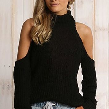 Black Plain Dew Shoulder Plus Size Cut Out Turtleneck Split Sleeve Fashion Pullover Sweater