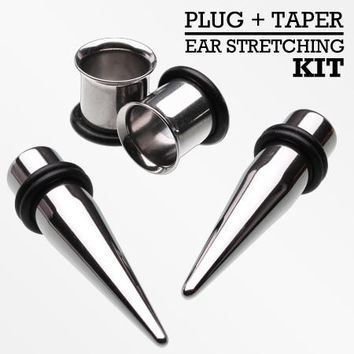Single Size Ear Stretching Tapers & Plugs Pair Kit