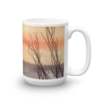 Art Coffee Mug, Sunset mug, Bird coffee mug, Watercolor painted cup, Ceramic coffee mug, nature coffee cup, unique mug, orange and yellow