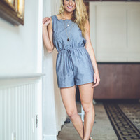 Scalloped Romper in Denim