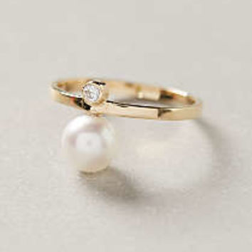 Pearled Diamond Midi Ring by White/Space Gold