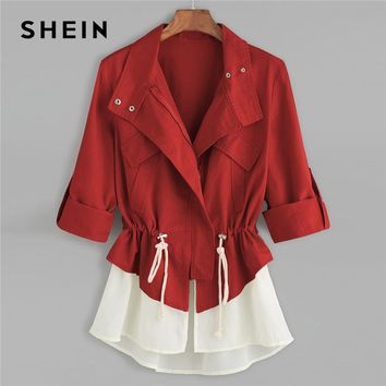 SHEIN Burgundy Roll Sleeve Drawstring Jacket With Contrast Trim Elegant Cotton Colorblock Outerwear Women Autumn Coat