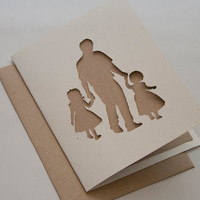 Father and Two Daughters Cut Silhouette Card by starflycreations