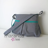 Chloe Purse Messenger Bag in Grey with Teal Accent/Lining - Cross Body Bag - Adjustable Strap 3 Slip Pockets
