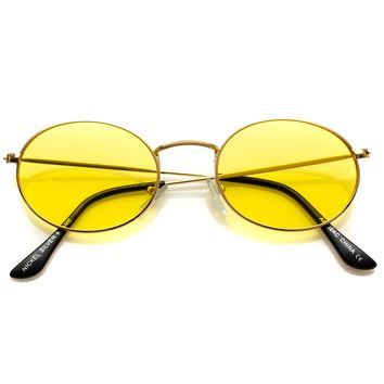 Adelaide Small Oval Metal Frame Tinted Lens Sunglasses