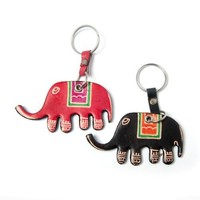 Leather Elephant Keychains (Set of 2)