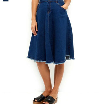 Winter Denim Rinsed Denim Skirt [6514139655]