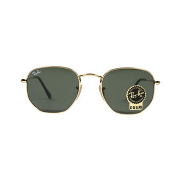 New Original Ray Ban Sunglasses RB3548N Gold Frame 001 51mm Green UV Flat Lens