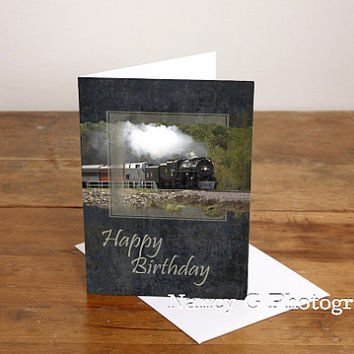 "Greeting Card, Train Card, Steam Train 261, Happy Birthday Card, Birthday, 5""x7"", Card, Greeting Cards, Paper Goods, Note Card, Vintage"