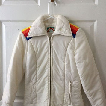 Ski Jacket White Coat Vintage 70s Rainbow Striped S Kmart