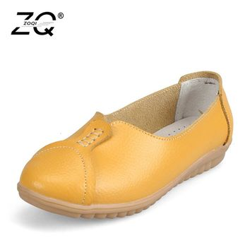 ZOQI 2018 Women Flat Shoes Round Toe Lace-Up Oxford Shoes Woman Genuine Leather Brogue Women Shoes