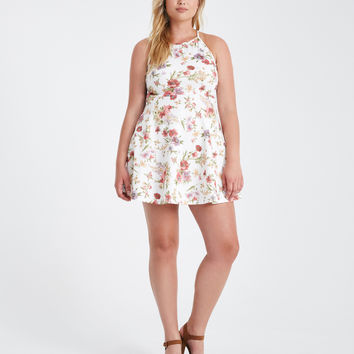 Plus Size Floral High Neck Skater Dress | Wet Seal Plus