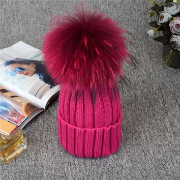 Absolutely Gorgeous Russian Knit Pompom Hat. Silver Fox Fur. Fabulous Quality, Warm!