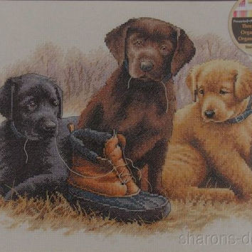 Dimensions Counted Cross Stitch Kit Chew Toy Jim Killen 14x11 Dogs Puppies 35188