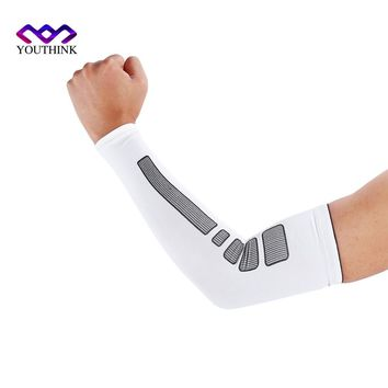 1 Pcs Man Sports Basketball Arm Sleeve Cycling Compression Arm Warmers Elbow Protector Pads Support For Men Women Sun Protection