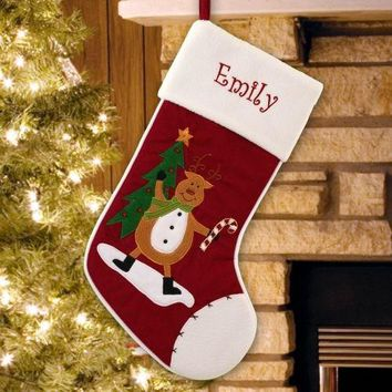 Christmas Stocking Reindeer with Candy Cane