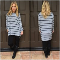 Combo Stripe Knit Sweater in Grey