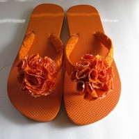 Orange Decorated Flip Flops on Luulla