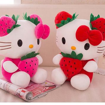 "13.8"" inch Kimono Stuffed Animal Japan Kawaii Doll Anime Hello Kitty Plush Doll Toy with Strawberry christmas party Favour gift"