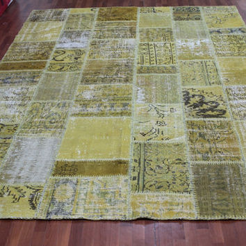 Overdyed Handmade Turkish Patchwork Carpet Mustard- Vintage Overdyed Turkish Rug- (232 X 315 cm)(7,6ft X 10,3 ft)