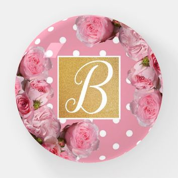 Pink Polkadot and Peonies Paperweight | Zazzle.co.uk