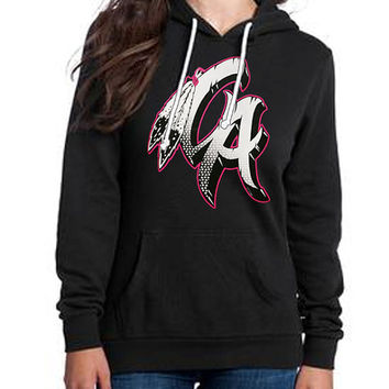 Native California Pink & White on black hoodie