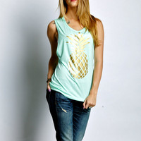 Women's Muscle Tee Tank Mint Pineapple Pinterest Tumblr Fashion Coachella  Festival Boho Women's Tank Top T-Shirt