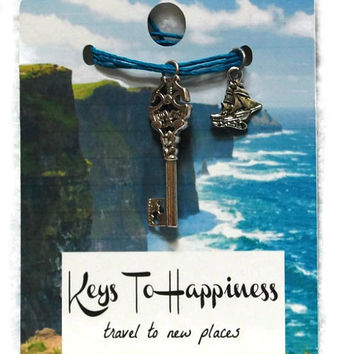 Keys To Happiness - Travel, Key Charm, Necklace Charm, Antique Key, Skeleton Key Pendant,Stocking Stuffer,Party Favor,Wedding Favor,Under 25