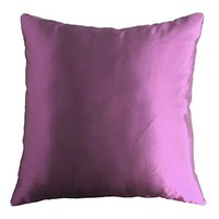 "Purple Violet 18"" x 18"" Decorative Solid Satin Square Throw Pillow Cases Cushion Covers Textured for Couch Sofa Bed"