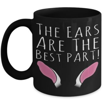 Easter Bunny Ear Mug Black Coffee Cup For Holidays 2017 2018 Gifts For Him Her Family Grandparent Grandma Granddad Wive Husband Couples Funny Sayings Holiday Tea Coffee Mugs Cups