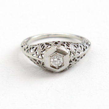 Antique 18k White Gold Art Deco 1/5 Carat Solitaire Diamond Ring - Size 5 1/2 Vintage Filigree Fine Engagement Bridal Jewelry