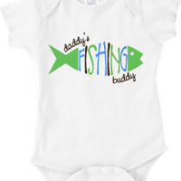 Daddy's Fishing Buddy Baby Onesuit or Boy's or Girl's T-Shirt (Texas Pictured) 3 color Original Custom Design