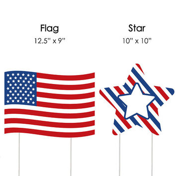 4th of July - Flag and Star Lawn Decorations - Outdoor Independence Day Yard Party Decorations - Fourth of July - Lawn Ornaments - 10 Pieces