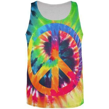 CREYON Peace Sign Tie Dye All Over Mens Tank Top