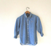 Vintage 90's POLO Ralph Lauren DENIM Chambray Embroidered Button Down Shirt Kids Sz M, Wms Sz S