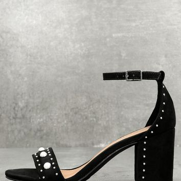 Report Pascal Black Suede Pearl Ankle Strap Heels