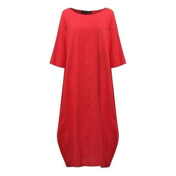 SHIPS FROM USA ZANZEA Womens Crewneck 3/4 Sleeve Baggy Maxi Long Casual Loose Shirt Dress Kaftan